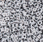 Letter E 100pc 7mm Alphabet Beads White with Glossy Black Letters