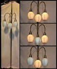 Mid Century Retro Brass Tension Pole Floor Lamp 3Way Switch Original Glass Shade
