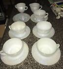 13 FEDERAL GLASS IRIDESCENT MOONGLOW TEA SET CUPS SAUCERS CREAM SUGAR BOWL LOT