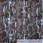 BonEful Fabric FQ Cotton Quilt Brown Green Wood Tree Bark Leaf Camo Camouflage L