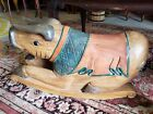 Very rare Vintage Hand-carved Wooden Rocking Pig from Thailand