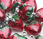 2 5Pcs Red Strawberry Tibetan Silver Charms Pendant Craft Jewelry Making 2014mm