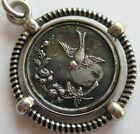 ANTIQUE SILVER BLACK ENAMEL MEDALLION WOMAN BIRD CHARM FOB PENDANT