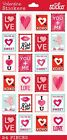 Sticko Scrapbooking Crafts Foil Stickers Valentine Hearts Arrow Stamps Red