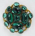 Vintage Green Glass 14 Bezel Set Cabochon Pin Brooch Open Back 1 3 4 PRETTY