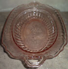 Open Rose Pink Depression Glass Decorative Oval Bowl Handles Anchor Hocking