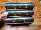 Antique Miniature Painted Pine Wood 3 Drawer Jewelry Box Oriental Style Pulls