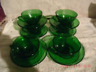 VINTAGE 6 FIRE KING FOREST GREEN CHARM CUPS AND SAUCERS ANCHOR HOCKING