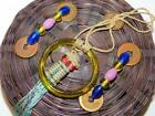 Vintage ASIAN Oriental Bamboo SEWING BASKET Chinese Coins Glass Beads Ring 6.25