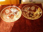 Pressed/Cut Glass Sauce Candy Dish LOT OF 2 Floral Design Sawtooth Rim VTG 3LEGS