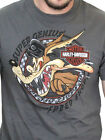 Harley Davidson Looney Tunes Mens Wile E Coyote Speed Short Sleeve Grey T Shirt