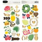 Pebbles Everyday Floral Gold Foil Scrapbooking Crafts Stickers Spring 2 sheets
