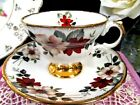 Royal Dover tea cup and saucer floral pattern footed teacup England
