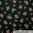 BonEful Fabric FQ Cotton Quilt Black Pink Rose Bud Flower Green Leaf Small Tiny