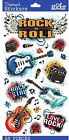Sticko Scrapbooking Shimmer Stickers Rock and Roll Guitar Music Concert Band NEW