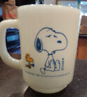 Vintage 1965 Snoopy Coffee Mug Fire King  I'm Not Worth A Thing Before Coffee