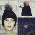 ANGELA & WILLIAM NAVY CUFFED MULTI FAUX FUR POM POM KNIT BEANIE HAT NW INDIANA!
