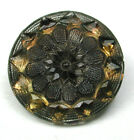 BB Antique Lacy Glass Button with Luster - Flower Design - 1/2
