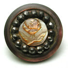 BB Antique Iridescent Shell Button Carved  Rose w Cut Steel Border 11/16
