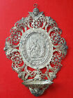 Antique Cut Tin Icon Religion Holy Water Hands Wall- Church-front door- frame.nr