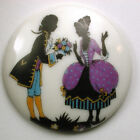 BB Vintage Button Transfer Porcelain Romance Couple in Period Clothing 1