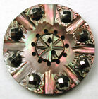 BB Antique Button Colorful Iridescent Shell w/ Cut Steel Accents - 7/8