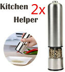 2pc Electric Salt Pepper Spices Mill Grinder Shaker Stainless Steel