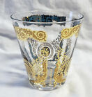 Vintage GEORGES BRIARD Gold Floral Signed Old Fashioned Tumbler Rocks Glass