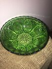 Vintage Green Pressed Glass Salad Serving Bowl Fairfield Anchor Hocking