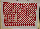 DAZZLING LARGE  RED AND WHITE BOWTIE QUILT TOP  1940S LOTS OF DIFFERENT PRINTS !
