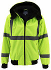 Mens Class 3 Safety High Visibility Water Resistant Reflective Neon Work Jacket