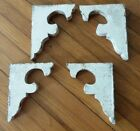 ARCHITECTURAL SALVAGE Set 4 Small Antique Wooden Corbels OLD CHIPPY WHITE PAINT