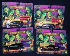 COMPLETE SET 4 ROAD CHAMPS HORROR HEARSE CAR DIECAST METAL PLASTIC COFFIN 1995