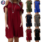 Womens Cold The Shoudler Dress Loose Casual Solid Ladies short Dresses Summer