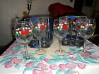 1970's Libbey Glass Christmas Holiday Wine Goblet Poinsettia Holly NAPA COUNTRY