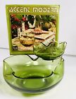 Anchor Hocking Chip and Dip Bowl Set Avocado Green Glass Brass Vintage MCM Party