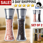 Salt and Pepper Grinders Set 2 Shakers Spices Mill Crusher Stainless Steel Glass