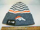 Denver Broncos Knit NFL New Era striped Chill Hat Winter Pom Beanie Knit Cap
