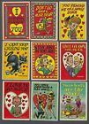 1959 Topps Funny Valentines Trading Cards Complete Set of 66 With 2 Wrappers