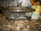 RARE SERVING PC?HEAVY GLASS BOAT/ METAL COVER AND BASE. LARGE!