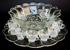 L.E. SMITH GLASS CRYSTAL CLEAR FISH SCALE LARGE PUNCH BOWL UNDERPLATE 12 CUPS