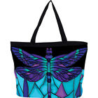 Galleria Stained Glass Dragonfly Tote Bag Stained Organizer Bag NEW