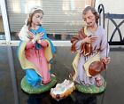 Vintage Fontanini 3 Pcs Christmas Nativity Set Hand Painted Italy 9 1 2 Rare