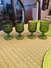 Vintage Set of 4 Kings Crown Indiana Glass Green Thumbprint Cordial Goblets
