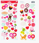 Pebbles Valentine Scrapbooking Stickers Be Mine Hearts Flowers Candy Donuts