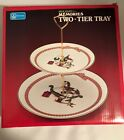 Anchor Hockin Holiday Memories Two-Tier Tray, New in Box