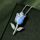 Fashion 925 Silver Jewelry Flower Blue Fire Opal Charm Pendant Necklace Chain