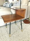 Mid Century Mod step side table with integrated lamp