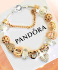 Authentic PANDORA Charm Bracelet Silver Gold Heart with European CharmsNew