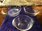 Fire King Clear Glass Mixing Bowl Set of 3